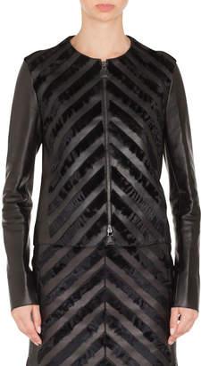 Akris Rosalie Chevron Suede Zip-Front Leather Short Jacket