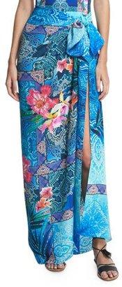 Gottex Oahu Tropical Silk Pareo Coverup, Blue/Multicolor $198 thestylecure.com