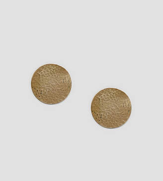 Made hammered gold disc oversized stud earrings