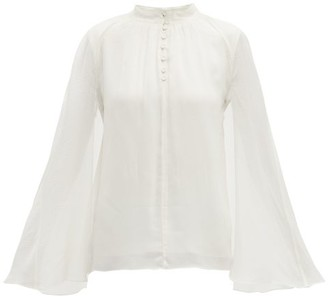 Erdem Carvella Dotted Silk Jacquard Cape Blouse - Womens - Ivory