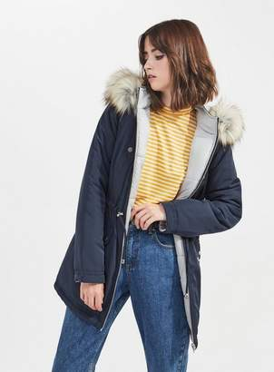 Miss Selfridge Grey reversible parka puffer coat