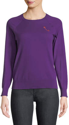 Replica Los Angeles Safety-Pin Crewneck Raglan Cashmere-Cotton Pullover