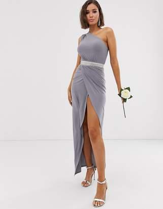 Club L London one shoulder embellished belt bridesmaid maxi dress