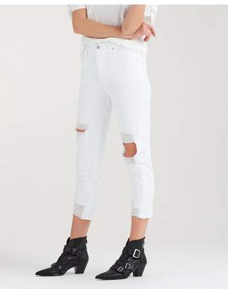 7 For All Mankind High Waist Josefina With Destroy In White Fashion