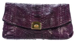 Sergio Rossi Python Fold-Over Flap Clutch Violet Python Fold-Over Flap Clutch