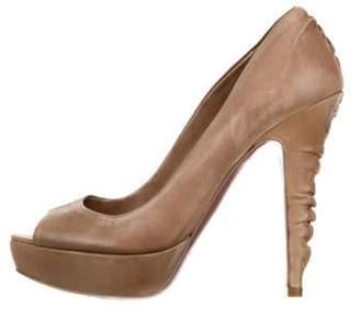Miu Miu Leather Peep-Toe Pumps Brown Leather Peep-Toe Pumps