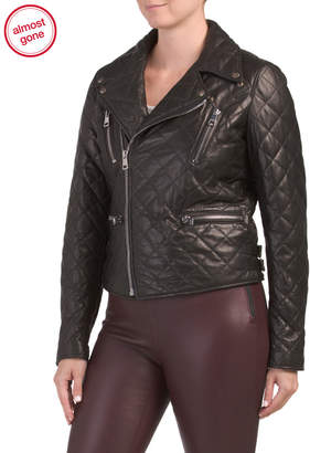 Made In Italy Quilted Napa Leather Biker Jacket