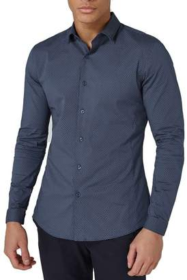 Topman Polka Dot Stretch Smart Shirt