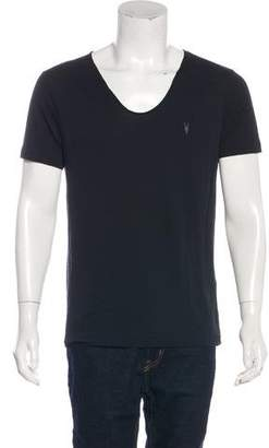 AllSaints Woven Distressed T-Shirt