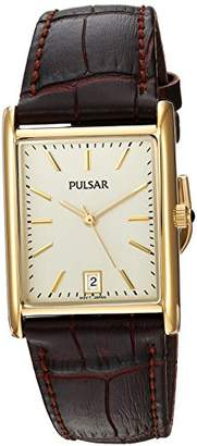 Pulsar PULS7) Men's Quartz Stainless Steel and Leather Dress Watch