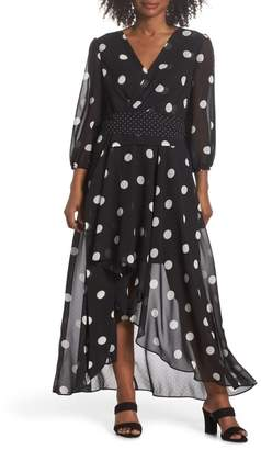 Eliza J Polka Dot Chiffon Maxi Dress
