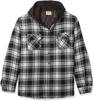 Wrangler Authentics Men's Big-Tall Long Sleeve Quilted Lined Flannel Shirt Jacket Hood