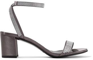 Pedro Garcia Xela Crystal-embellished Satin Sandals - Dark gray