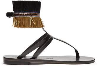 ÁLVARO Ariana raffia-embellished leather sandals