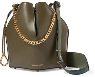Alexander McQueen Paneled Leather Bucket Bag - Army green