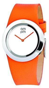 Am.pm. Am : Pmレディースpd104-l025 stainless-steelケースオレンジレザーストラップクォーツウォッチ
