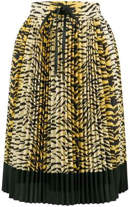 RED Valentino pleated leopard skirt