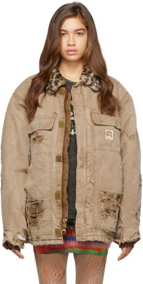 R 13 Tan Vintage Arctic Quilt Lined Jacket