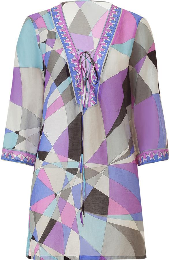 Emilio Pucci Ocean Sheer Silk Blend Caftan