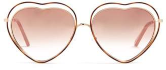 Chloé Poppy Heart Shaped Frame Sunglasses - Womens - Pink Multi
