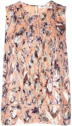 Diane von Furstenberg printed gathered front blouse