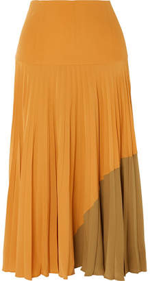 Fendi Plissé Silk Crepe De Chine Midi Skirt - Yellow