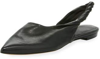 Sham Twisted Leather Slingback Flat