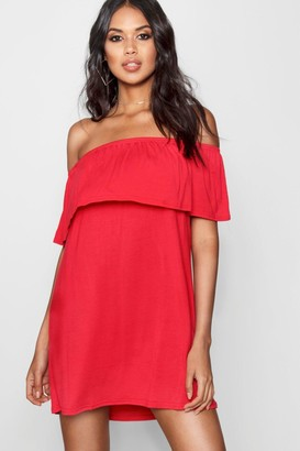 boohoo Pixie Off The Shoulder Swing Dress $24 thestylecure.com