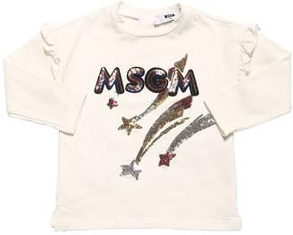 MSGM Sequins Logo Cotton Jersey T-shirt