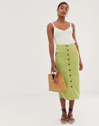 Asos Design DESIGN button front midi skirt in olive