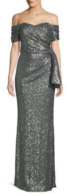 Badgley Mischka Platinum Off-Shoulder Sequined Side-Bow Gown