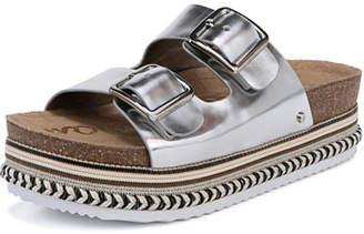 Sam Edelman Oakley Foiled Metallic Platform Espadrille Slide Sandal