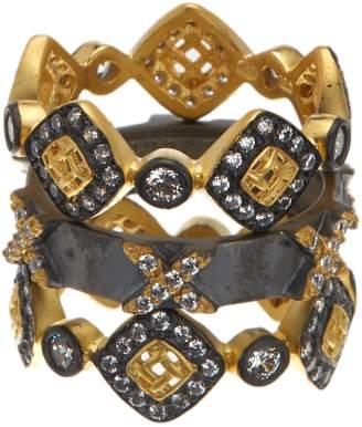 Freida Rothman 14K Gold & Rhodium Plated Sterling Silver CZ Lattice Motif Axis Ring Set - Set of 3 - Size 5