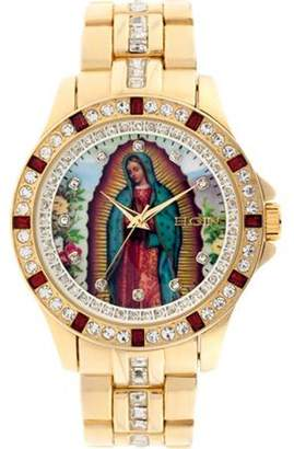 Elgin Men's Lady of Guadalupe Graphic Dial Crystal Accented -Tone Watch FG9115