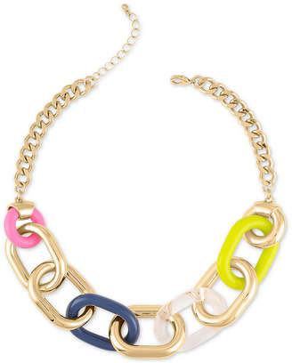 "Rachel Roy Gold-Tone & Acrylic Large-Link Collar Necklace, 18"" + 2"" extender"