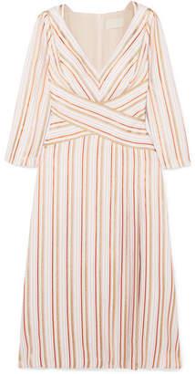 Peter Pilotto Wrap-effect Striped Metallic Crepe Dress
