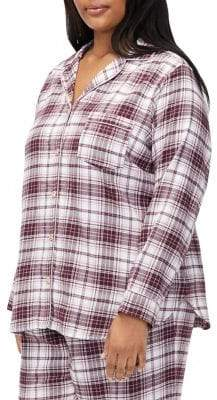 UGG Plus Two-Piece Raven Brushed Plaid Flannel Pajama Set