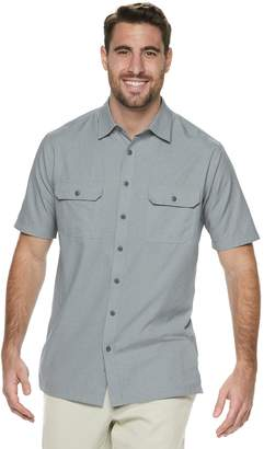 Croft & Barrow Big & Tall Classic-Fit Heather Mesh Quick-Dry Button-Down Shirt