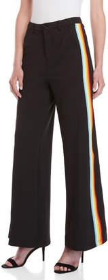 Hot & Delicious Black Rainbow Stripe Wide Leg Pants