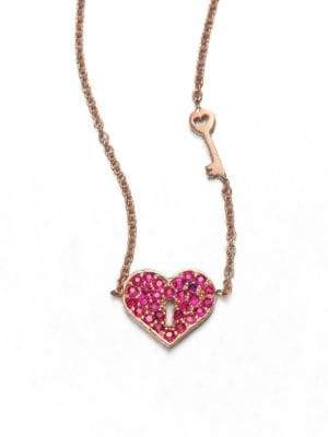 Sydney Evan Ruby& 14K Rose Gold Heart Key Pendant Necklace