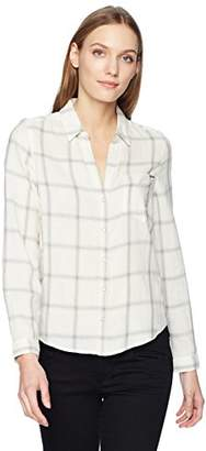 Calvin Klein Jeans Women's Long Sleeve Ivory Plaid Flannel Shirt