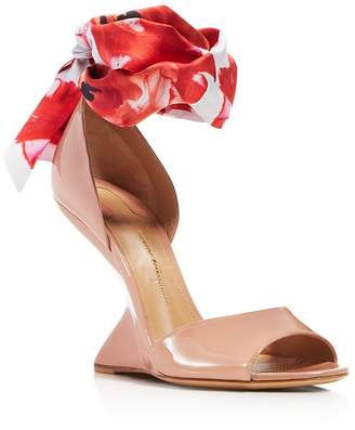 Salvatore Ferragamo Women's Patent Leather & Floral-Print Silk Ankle Tie F-Wedge Sandals