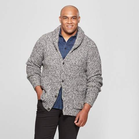 Goodfellow & Co Men's Big & Tall Button-Up Shawl Cardigan - Goodfellow & Co Cement