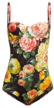 fac4737b7d96b Dolce   Gabbana Floral Print Balconette Swimsuit - Womens - Black Multi