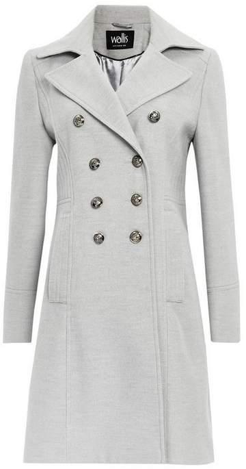 Grey Faux Wool Military Coat