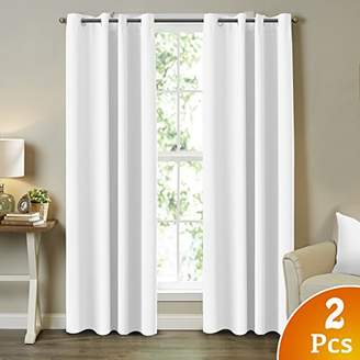 """Turquoize 2 Panels Solid Room Darkening Drapes Pure White Themal Insulated Grommet/Eyelet Top Nursery & Infant Care Curtains Each Panel 52"""" W x 84"""" L"""