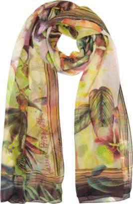 Laura Biagiotti Burgundy Tropical Printed Chiffon Silk Stole