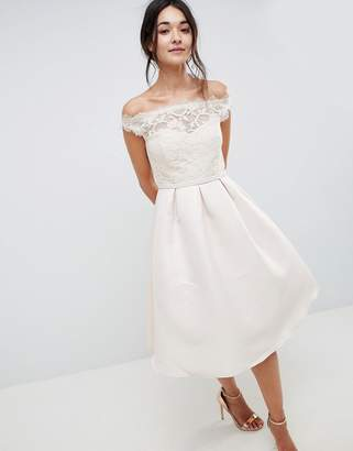 Little Mistress Bardot Midi Dress In With Premium Lace Top And Pleated Skirt