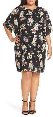 Vince Camuto Floral Story Dolman Sleeve Dress