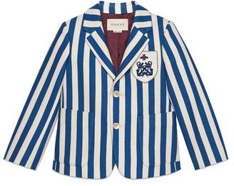 Gucci Children's striped cotton jacket with crest